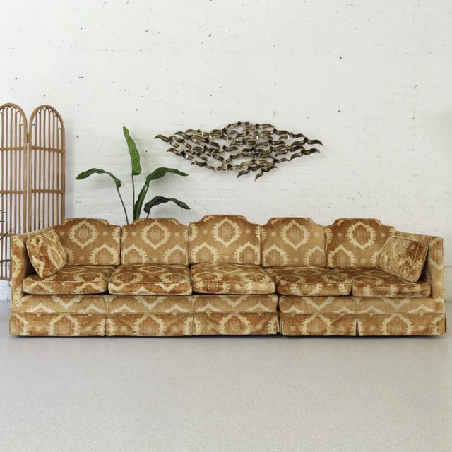 Damask style sofas are so fun when they're vintage! This amazing silhouette is to die for. Sink into your dream velvet...