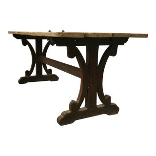French Pine Top and Trestle Base Dining Table