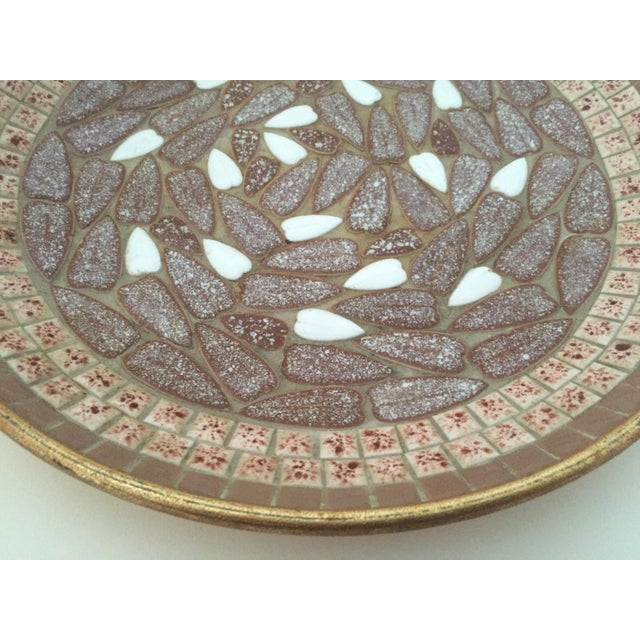 Vintage Mid Century Modern Handcrafted Multi Tone Brown Mosaic Tile Large Bowl For Sale In Kansas City - Image 6 of 9