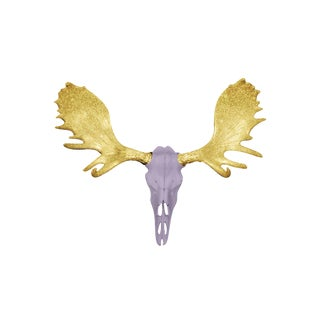 Wall Charmers Alberta Faux Lavender + Gold Glitter Antlers Resin Moose Head Skull