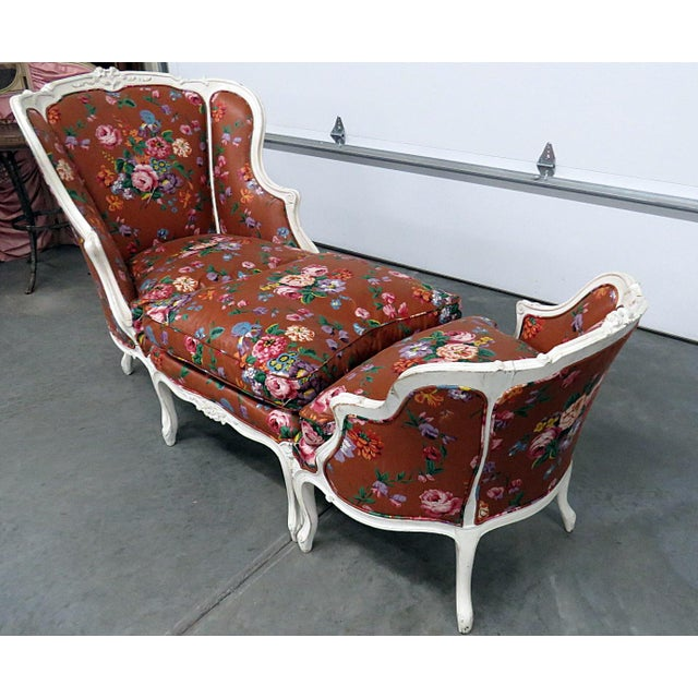 "Louis XV style distressed painted 3 piece chaise. Larger chair measures 40""h x 30""w x 26""d. The ottoman measures 20""h x..."