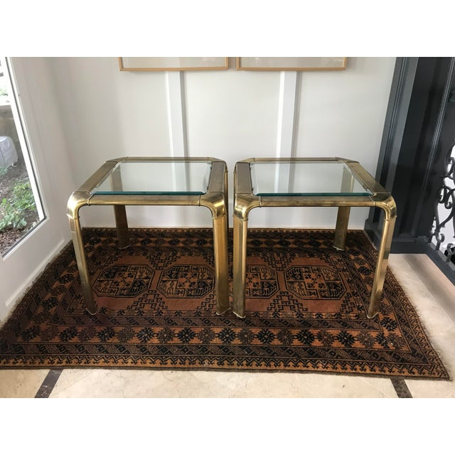 Mid Century Brass Waterfall Side Tables by Widdicomb, a Pair For Sale - Image 9 of 9