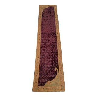 Beaded & Embroidered Purple Velvet Runner For Sale