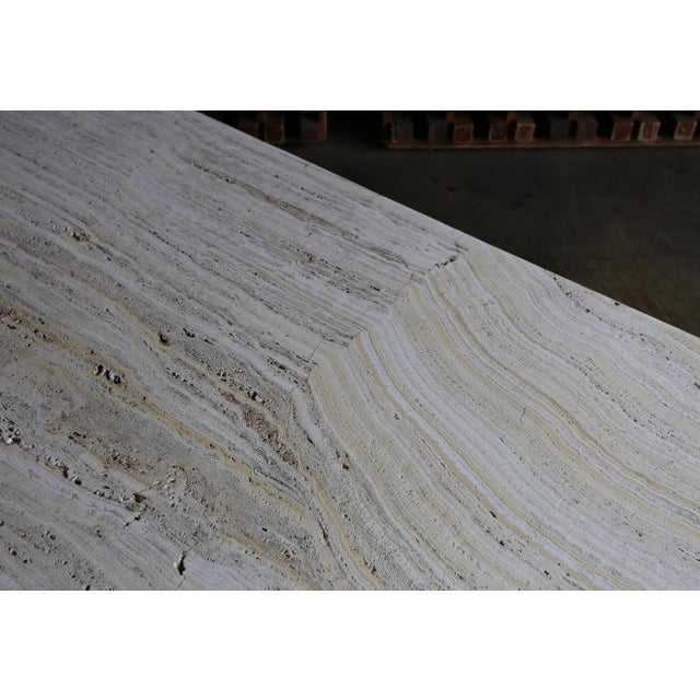 White Travertine Coffee Table Circa 1980 For Sale - Image 8 of 13