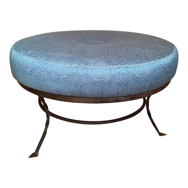 Plush Round Ottoman on Iron Base - Image 1 of 6