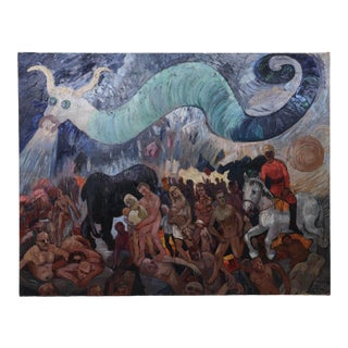 Surrealist Oil Painting. Dragon and Crowd, Maurice Vagh-Weinmann (France/Hungary, 1897-1978) For Sale