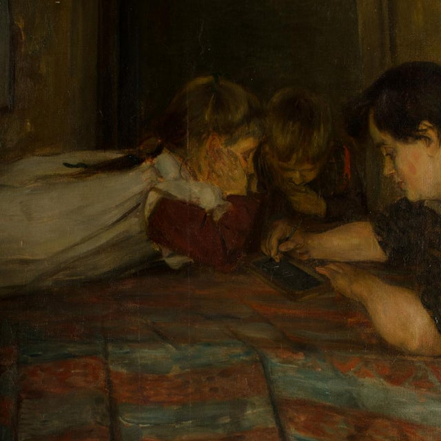 """19th Century """"Family Time"""" Figurative Oil Painting For Sale In Philadelphia - Image 6 of 11"""
