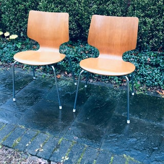 Vintage Teak Danish Modern Stacking Dining Chairs- a Pair Preview