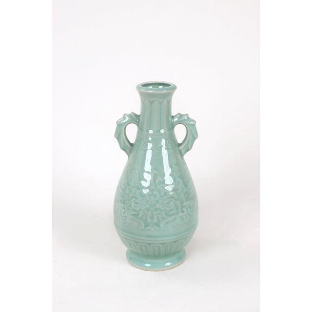 Asian Vintage Celadon Pear Shaped Porcelain Vase For Sale - Image 3 of 13
