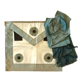 Late 19th Century French Masonic Apron & Scarf For Sale