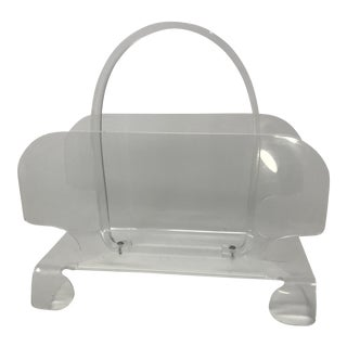 Vintage Curvy Lucite Magazine Rack Holder For Sale