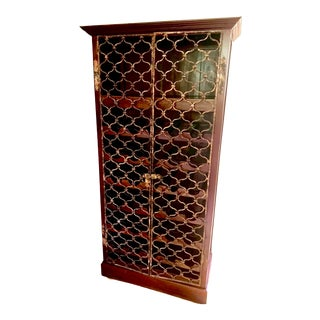 Cherry Wood Wine Cabinet With Patinaed Wrought-Iron Doors For Sale