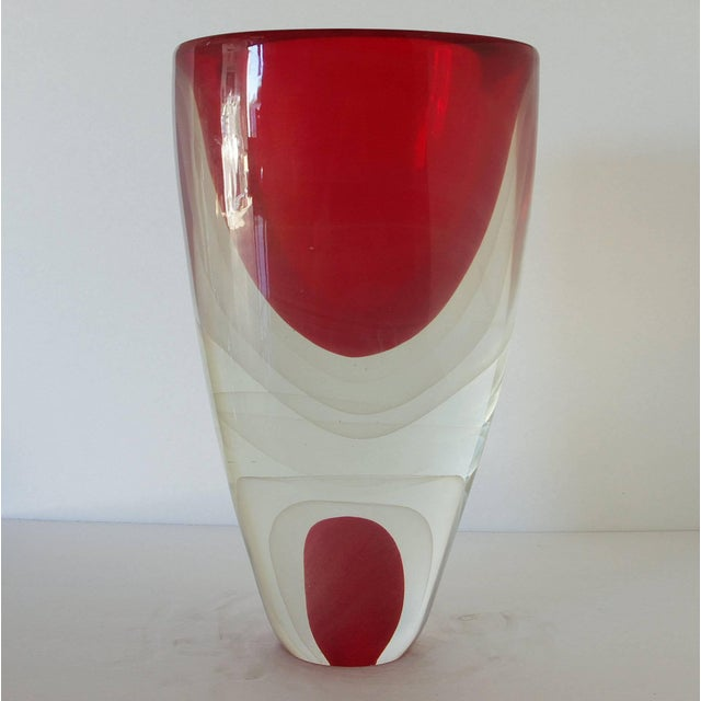 Italian vintage vase with red and clear Murano glass crafted in Sommerso or submerged technique by Romano Dona, signed...