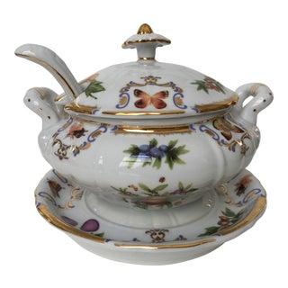 Insect & Fruit Yorkshire by Godinger Porcelain Tureen & Ladle For Sale