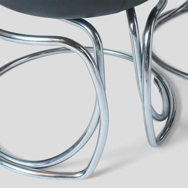 Black Vladimir Tatlin Tubular Chrome Chairs with Black Leather For Sale - Image 8 of 9
