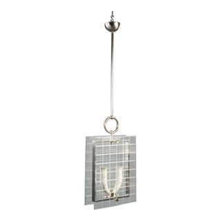 Italian Glass Grid Etched Lantern For Sale