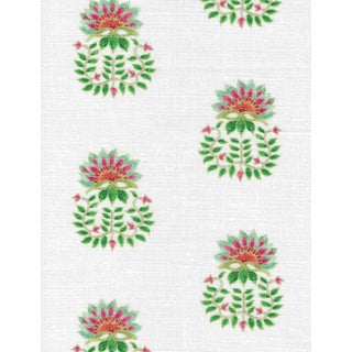 Ferran Gazania Fabric, 2 Yards, Jade in Linen/Cotton For Sale