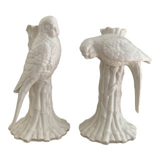White Ceramic Parrot and Faux Bamboo Candleholders- a Pair For Sale