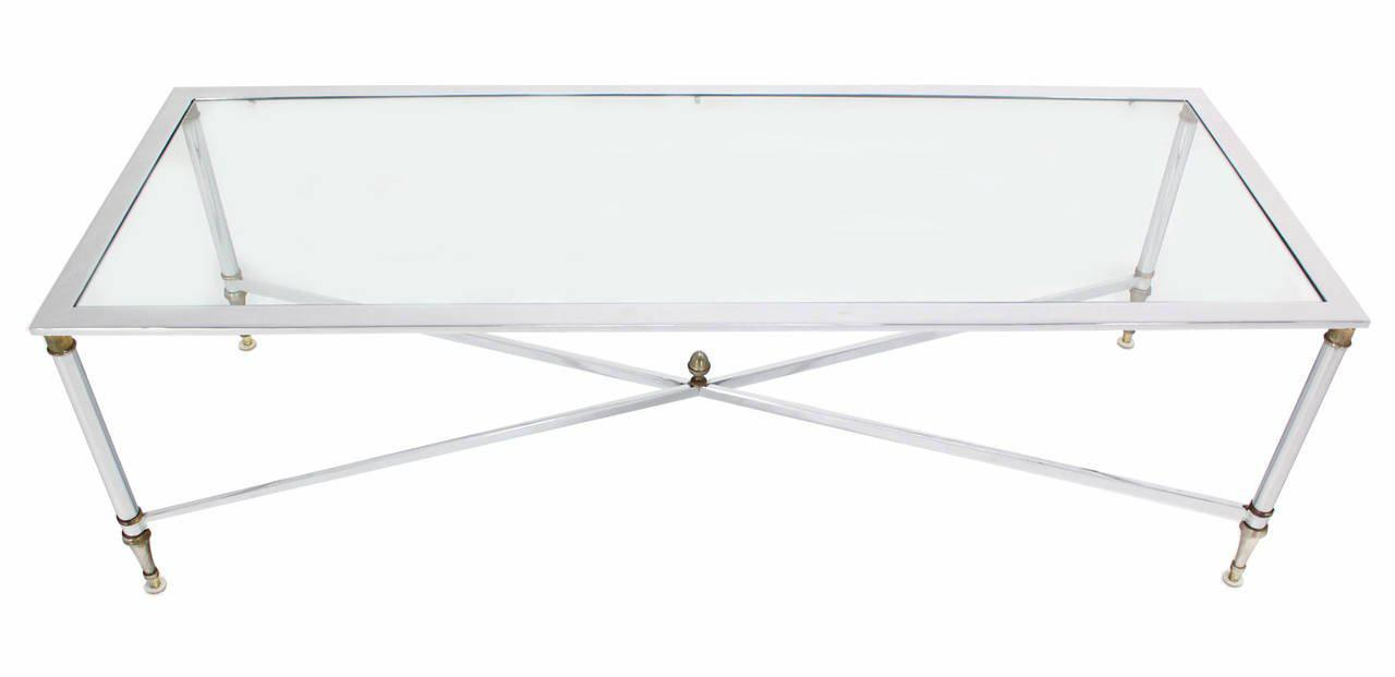 Brass Chrome Brass X Base Glass Top Long Rectangle Coffee Table For Sale    Image 7