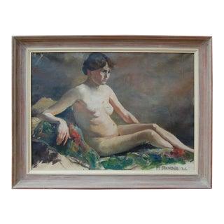Vintage Swedish Nude Oil Painting by Helge Frender c. 1936 For Sale