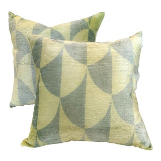 Two Tone Green Velvet Pillows - a Pair