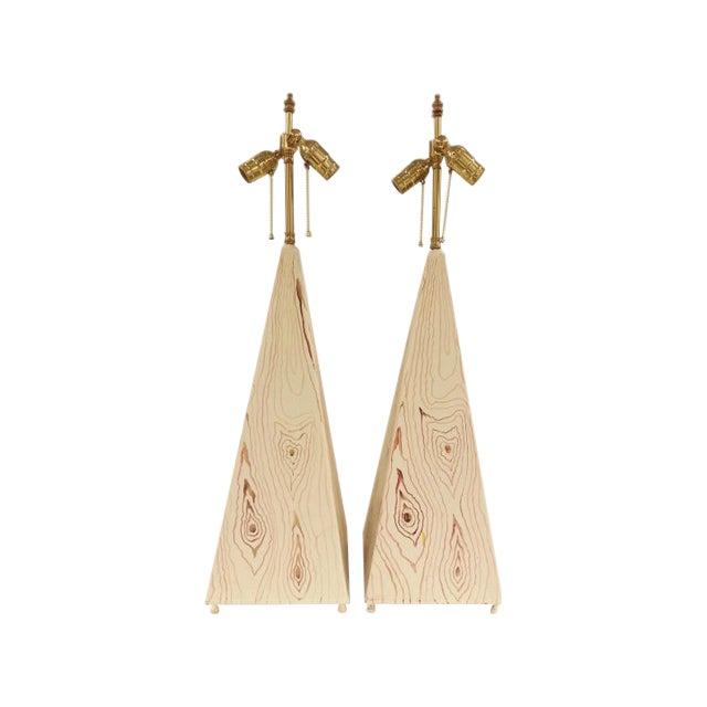Obelisk Shape Tole Lamps - A Pair For Sale