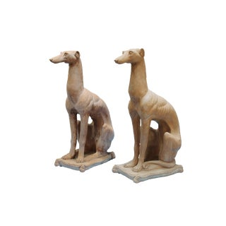 Traditional Whippet Greyhound Dog Statues-A Pair For Sale