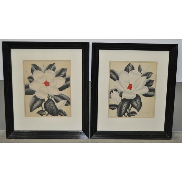 Pair of 1950's airbrush paintings by listed artist Shirrell Graves. Pair of Magnolia flowers in beautiful black lacquered...