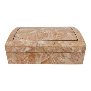 1970s Hollywood Regency Maitland Smith Pink Tessellated Stone Box For Sale