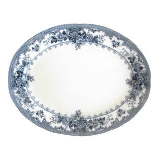 Antique Keeling & Co Colwyn Blue White Extra Large Serving Platter For Sale