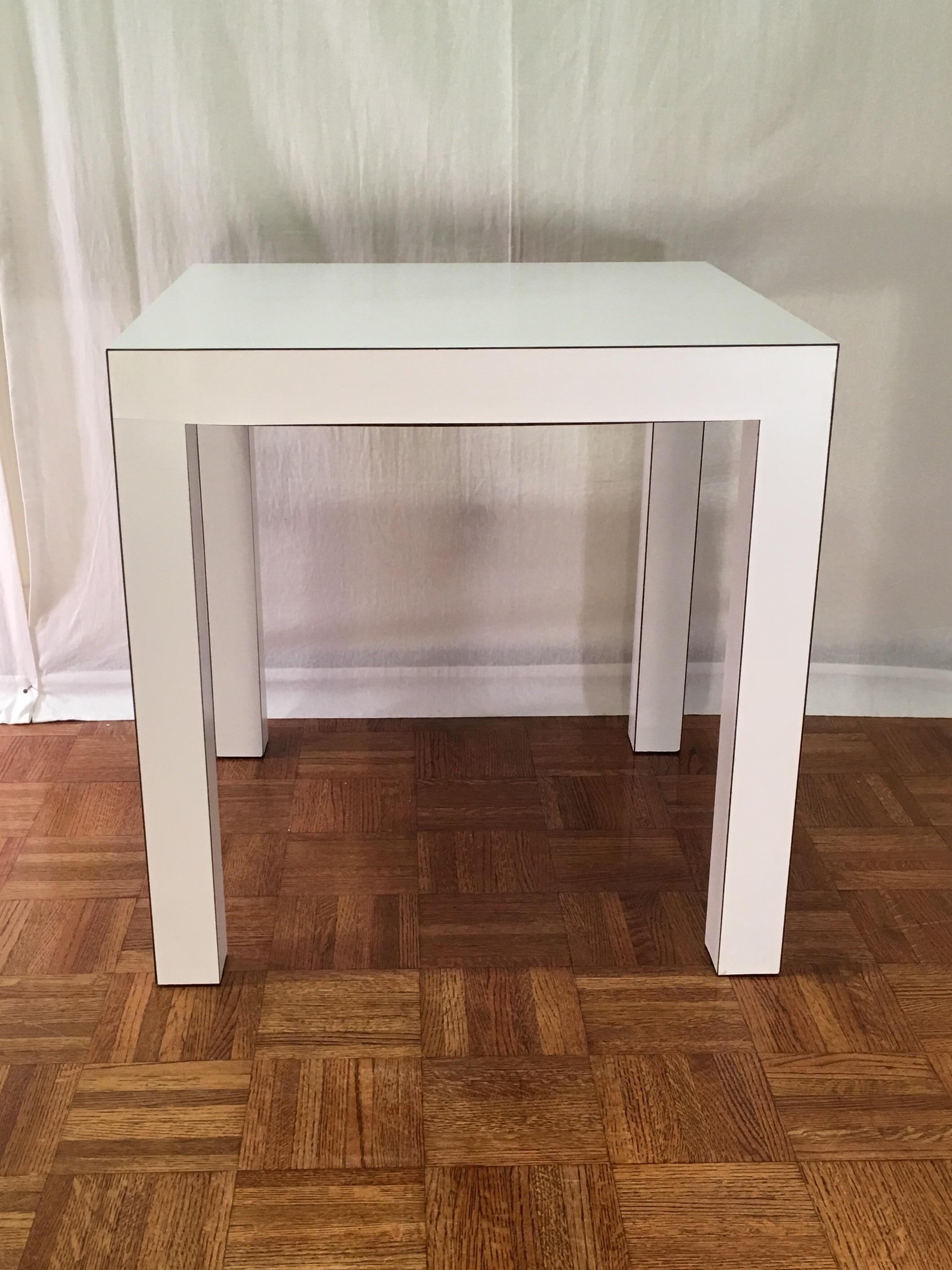 Vintage White Matte Laminate Parsons Table   Image 3 Of 6