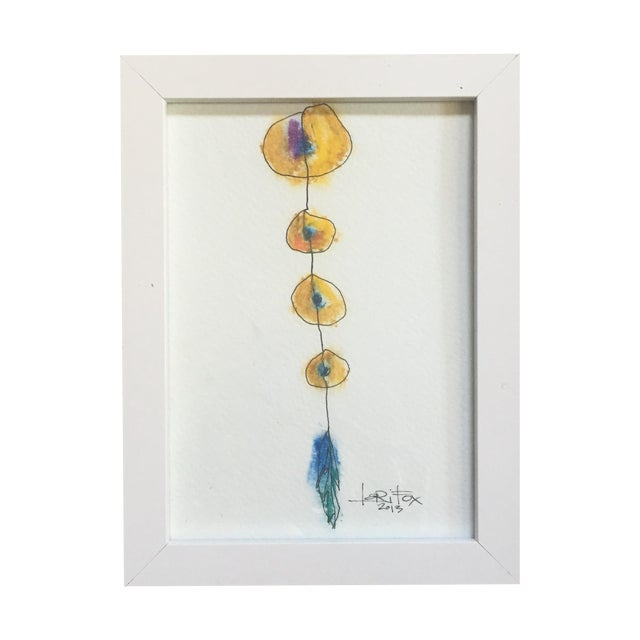 "Original ""Totem"" Oil Pastel - Image 1 of 6"