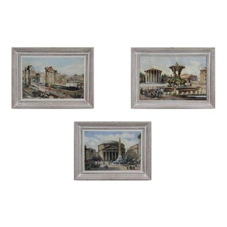 Group of Three 19th Century Signed Watercolor Scenes of Classical Rome