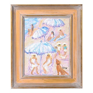 Oil on Canvas Sunny Umbrella Day, Signed by Artist