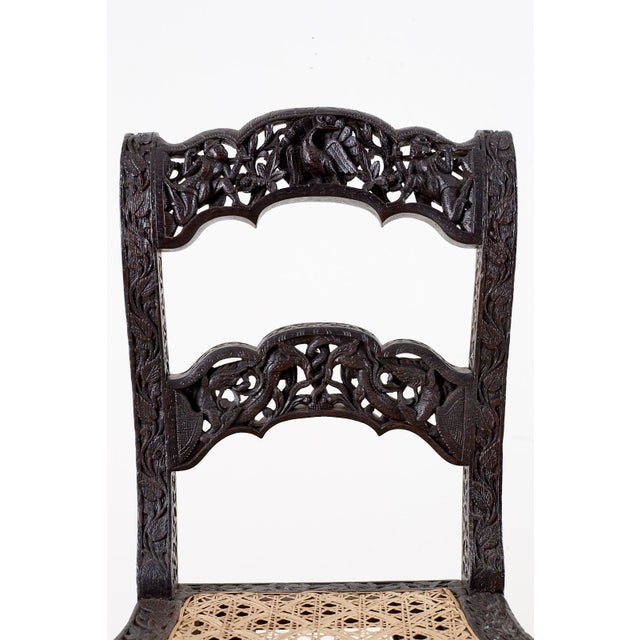 Anglo Indian Carved Rosewood Desk Chair For Sale - Image 4 of 13