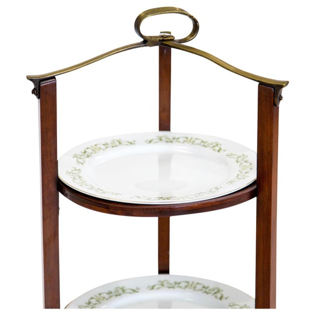 Mid 20th Century 3-Tier Serving Stand W Brass Handle For Sale - Image 5 of 11