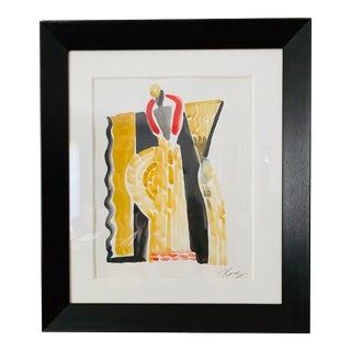 Original Art Watercolor Costume & Set Drawing #2 for Fifth Avenue Windows Framed For Sale