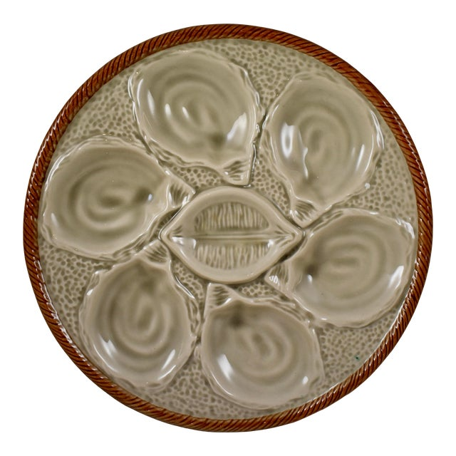St. Clément French Gray Shell, Rope & Lemon Oyster Plate For Sale
