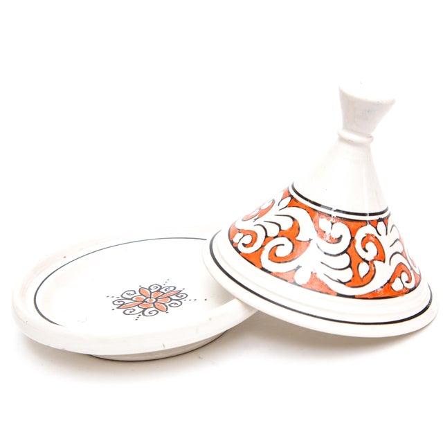 Boho Chic Moroccan Ceramic Handpainted Tajine For Sale - Image 3 of 4