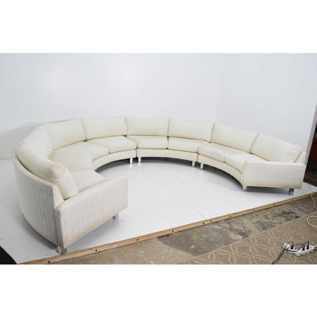 Large Milo Baughman White Upholstered Four Section Circular Sofa For Sale - Image 11 of 13