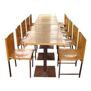Wood and Steel Dining Chairs and Tables For Sale