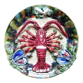 Ceramic Majolica Lobster Plate