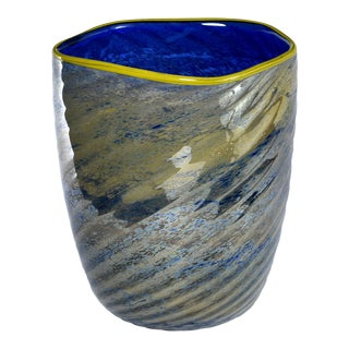 Blue and Green Art Glass Vase With Yellow Lip For Sale