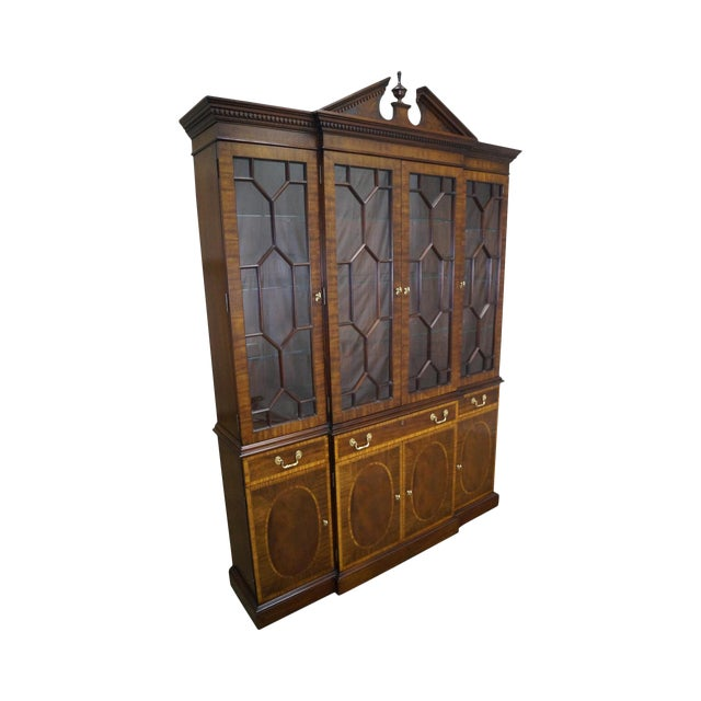 Councill Craftsman Inlaid Flame Mahogany Breakfront Bookcase For Sale