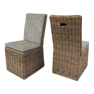 1990s Woven Willow Modernist Rolling Accept Chairs With New Upholstery — a Pair For Sale