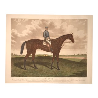 """Kisber"" - Jockey on His Racehorse. Hand Colored Engraving For Sale"