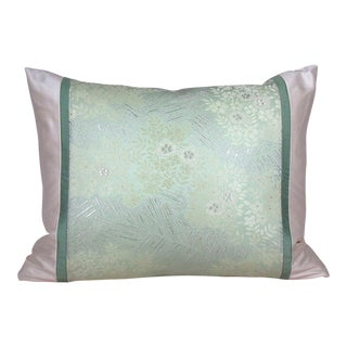 Floral Japanese Silk Obi Pillow Cover For Sale