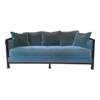 Ferguson & Copeland Belgium Mohair Peacock Green Sofa For Sale