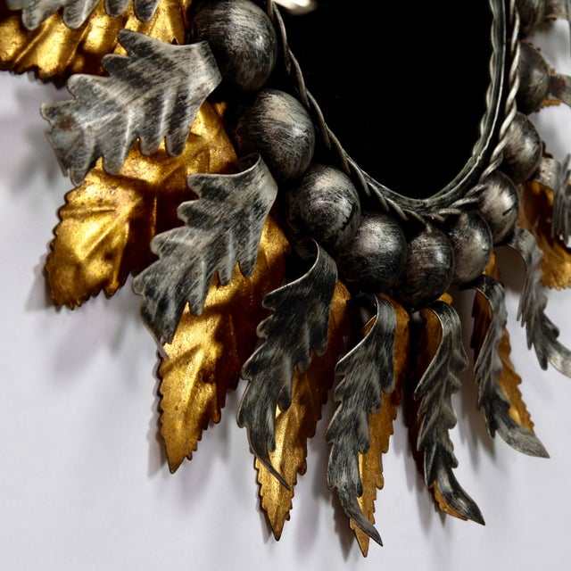 Gold Spanish Gilt and Silver Metal Sunburst Mirrors - a Pair For Sale - Image 8 of 10