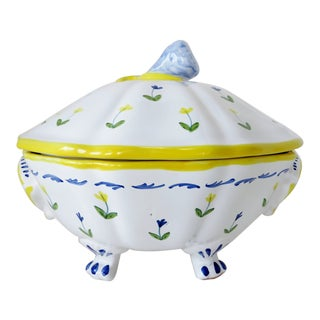 Italian Hand-Painted Serving Bowl For Sale